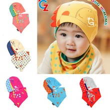 Hot Sales 2Pcs Sets Spring Winter Baby Boys Girls Patchwork Pattern Soft Cotton Hedging Hat Cap