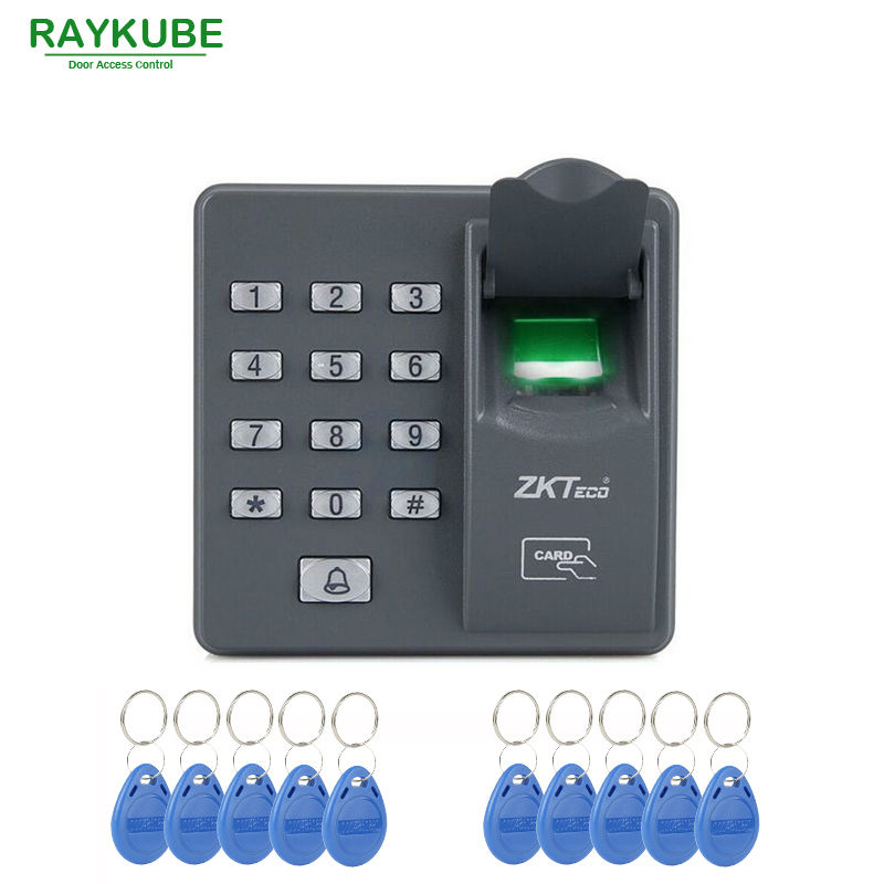 RAYKUBE RFID Fingerprint Reader & Password Keypad With 10pcs ID Card For Door Access Control System R-FX6 contact card reader with pinpad numeric keypad for financial sector counters