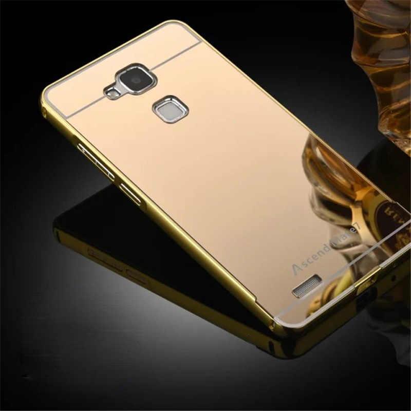 """Huawei Mate 7 Caso di Placcatura Metal Cover Cornice con Effetto Specchio Posteriore copertura Dura Della Cassa Del Telefono per Huawei Ascend Mate 7 Mate7 6.0"""""""