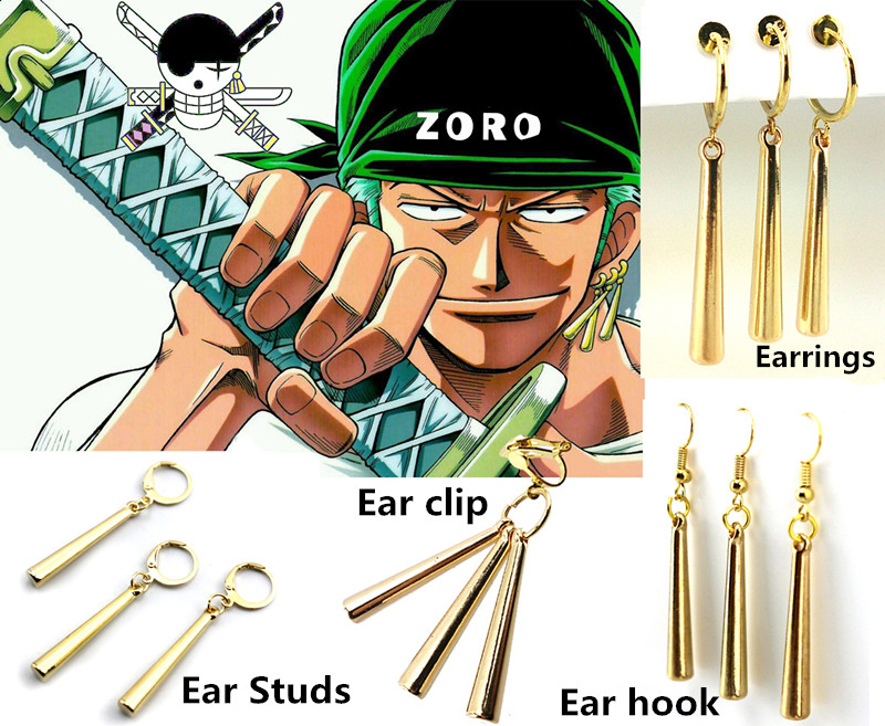 Hot Anime ONE PIECE Cosplay Cosplay Costume Accessories Roronoa Zoro Earrings/Ear Clip/Ear Studs/Ear Hook Metal Pendant A pair