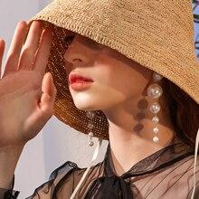 Bohopan Elegant Big Simulated Pearl Long Earrings For women New String Pearls Statement Dangle Drop Wedding Party