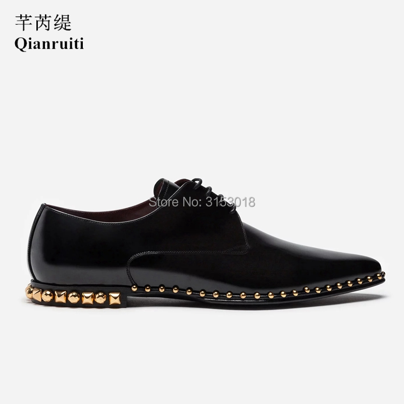 Qianruiti Formele Mannen Kleding Schoenen Leer Lace Up Offical Man Schoenen Puntschoen Casual Dagelijks Luxe Mannelijke Schoenen Voor wedding Party - 2