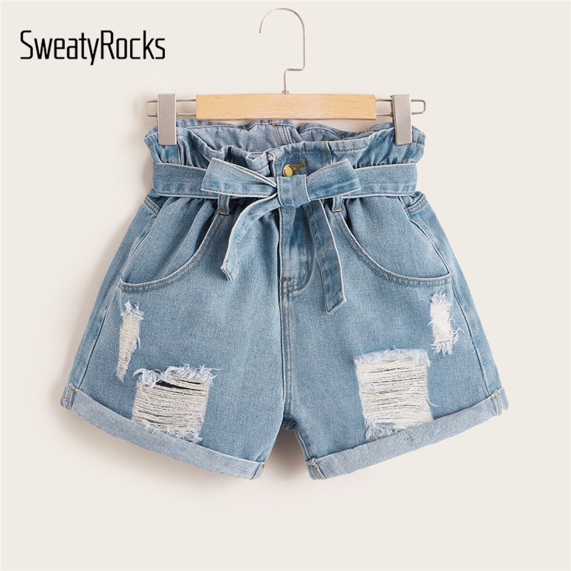 SweatyRocks Ripped Rolled Hem Denim Shorts Streetwear Casual High Waist Belted Shorts Summer Straight Leg Women Solid Shorts
