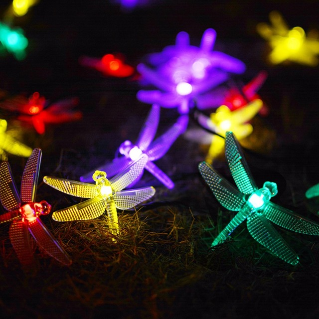 fymence b00100 dragonfly string lights 13feet 20led solar string light with waterproof solar panel steady