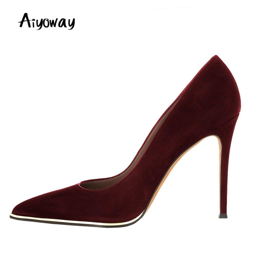 Aiyoway chaussures femmes élégantes en métal décoré bout pointu talons fins pompes à talons hauts automne printemps fête chaussures de mariage sans lacet