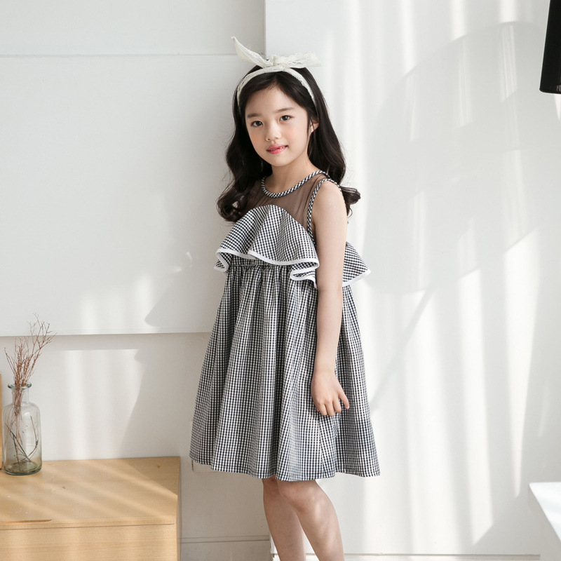 New Fashion Kids Baby Girl Clothing Vintage Dress Princess Sleeveless Plaid Teen Dress Tulle Party Formal Cute Dresses Girls plaid belted vintage dress page 9