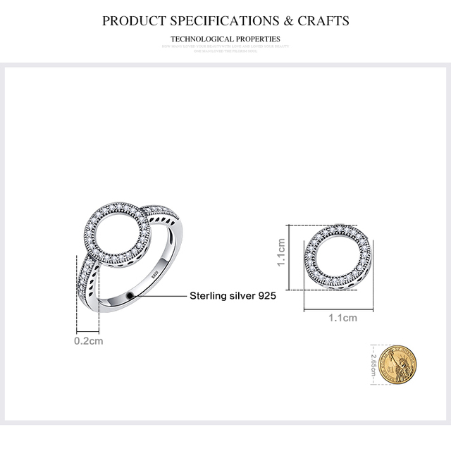 BAMOER 100% Genuine 925 Sterling Silver Forever Clear Black CZ Circle Round Finger Rings for Women Jewelry Christmas Gift SCR041 3