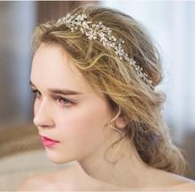 Dower me Shine Silver Rhinestone Bridal Hair Vine Jewelry Handmade Wedding Headband Accessories Women Headpiece