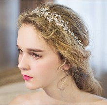 Shine Silver Rhinestone Bridal Hair Vine Jewelry Handmade Wedding Headband Accessories Women Headpiece