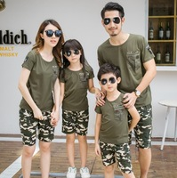 Family Matching Outfits Summer Mom Daughter Dad Son Camouflage Cotton Short Sleeves T shirt & Pants Boy Girls Clothes Set SA1308