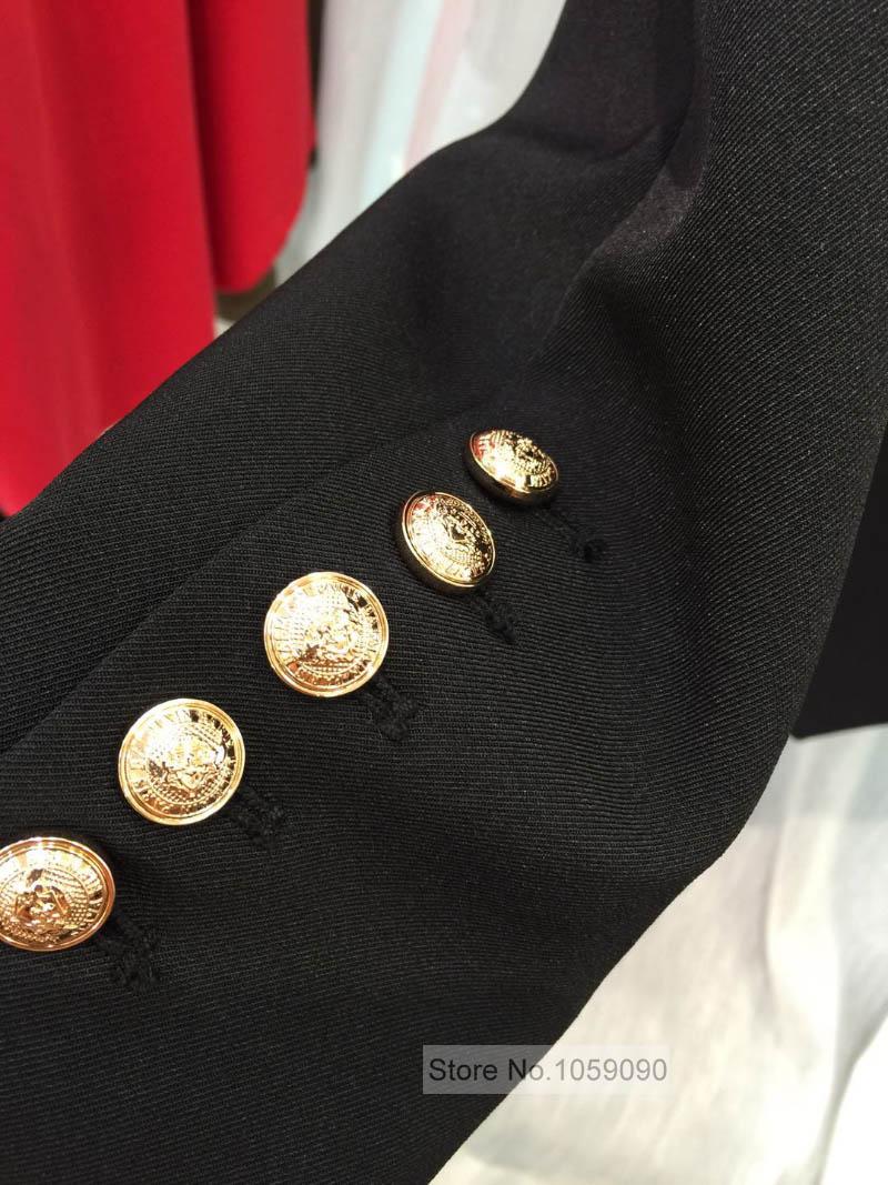 ¡Calidad superior! Blazer clásico de sarga negra de doble botonadura con botón en relieve dorado hasta chaquetas de manga larga para mujer-in chaqueta de deporte from Ropa de mujer    2