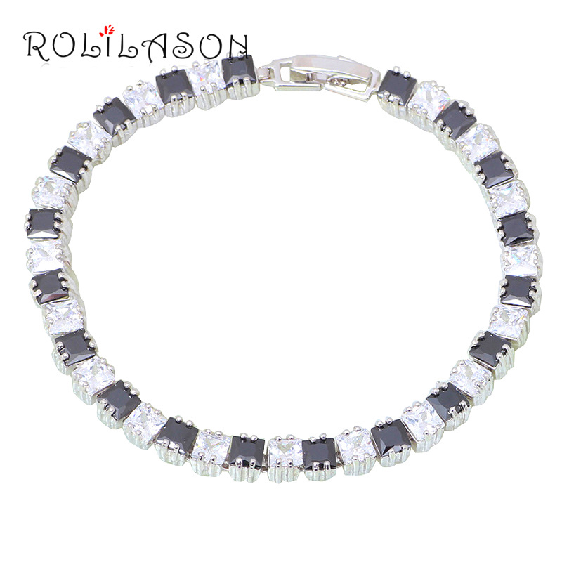 ROLILASON Black Friday Mysterious Jewelry for Women Silver Plated Black Onyx Charm Bracelets Party Gift Fashion Jewelry TBS1087