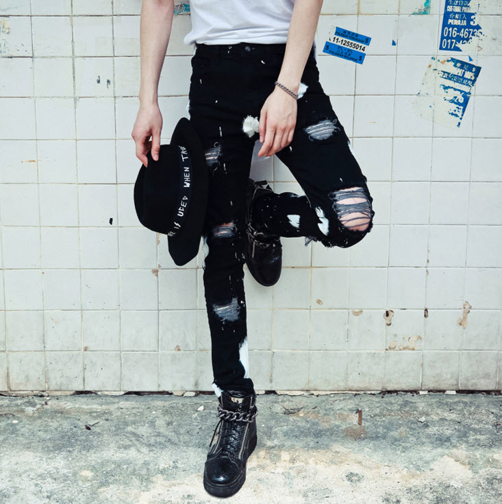 #1913 2016 Black jeans Famous brand Ripped jeans for men Skinny Slim Fashion Mens biker jeans Hip hop Pantalon homme Streetwear