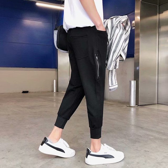 Loose Men's Pants Solid Cool Outdoor Streetwear Fashion Pants New Male Summer Soft Pants 12