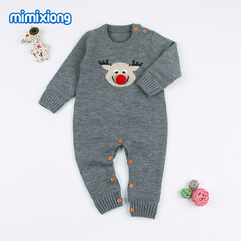 Christmas Newborn Baby Reindeer Rompers Full Sleeved Toddler Girls Jumpsuits Autumn Winter Knitting Infant Boys Animal Costumes