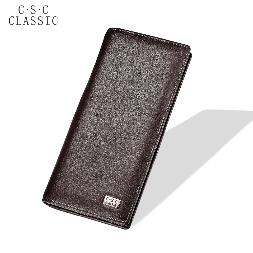 2016 New Brand Mens Womens Brown Real Genuine Leather Long Wallet Purse Checkbook Credit Card Slots ID Zipper Pocket