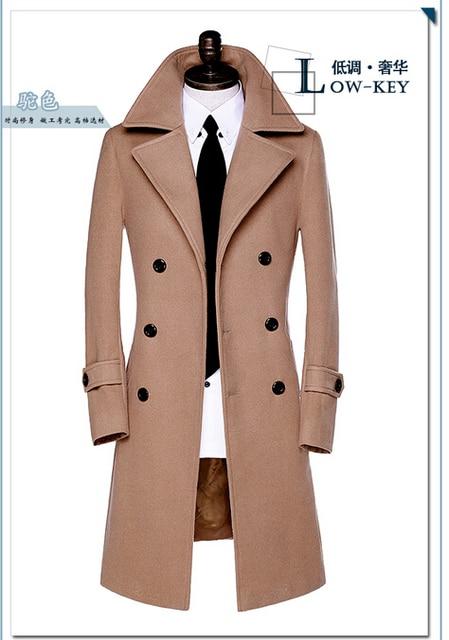 2019 new autumn Double breasted wool coat men fit slim mens pea coat woolen fashion casual male coats cashmere plus size S - 9XL