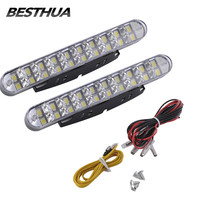 2pcs 30 LED Car White DRL Amber Turn Signal Daytime Running Light Daylight For Auto Car