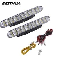 2pcs 30 LED Car White DRL Amber Turn Signal Daytime Running Light Daylight For Auto Car