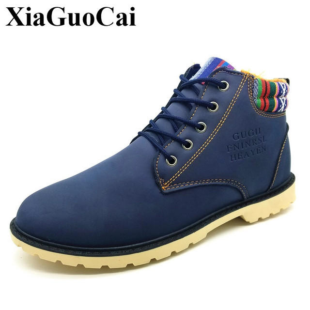b067509402 Snow Boots Men Shoes Warm Fur Winter Fleeces High Top Thick Heels Waterproof  Anti-skid Outdoor Lace-up Platform Soft Ankle Boots