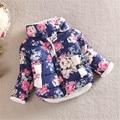 Новые Симпатичные Зимние Малыш Девочка Цветочный Стенд Воротник Длинный Рукав Лук Пальто Верхняя Одежда
