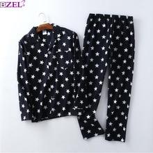 Pijama informal de algodón cepillado con estrellas para hombre, ropa de 100%, para invierno