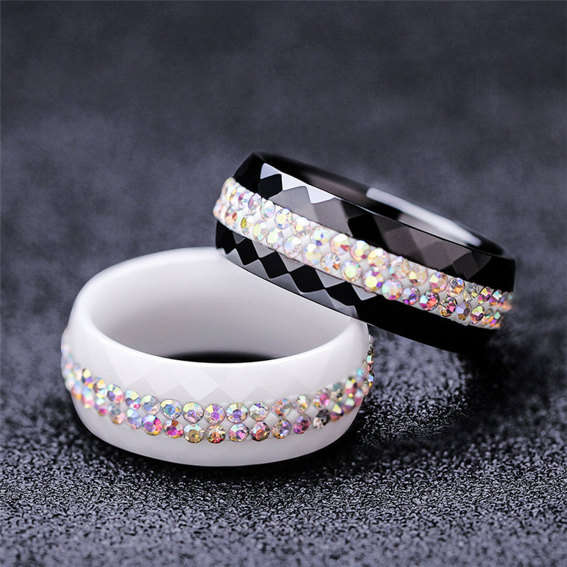 ZORCVENS 8mm Wide Black and White 2 Row AB Crystal Ceramic Ring Women Engagement Promise Wedding Band Gifts For Women