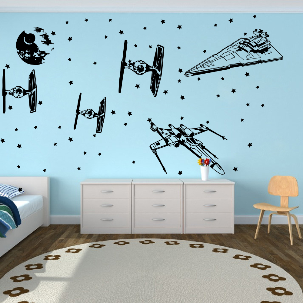 Cartoon Star Wars Spacecraft Star fighters  Wall Decal Boy Room Kids Room Star Wars Airplane Aircraft X Wing Wall Sticker Vinyl  (4)