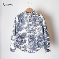2019 Spring Women Shirt High Quality Cotton White and Blue Floral Printed Vintage Runway Design Women Blouse Tops