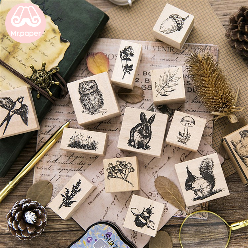 Mr Paper 12 Designs Cartoon Forest Animal Plant Wooden Rubber Stamp For Scrapbooking Decoration DIY Craft Standard Wooden Stamps