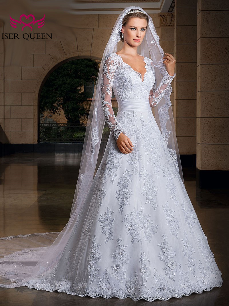 Long Sleeve Illusion Elegant A line Wedding Dresses 2019 V neck See through back White Vintage Lace Wedding Dress Bridal Gown