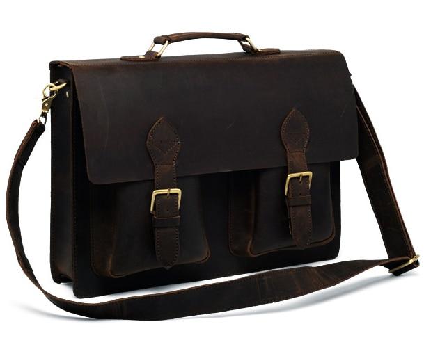 08f815064ba1 Vintage Crazy Horse Genuine Leather Briefcase Men 14