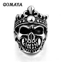 цены GOMAYA Vintage Cool Hollow Skull Mens Gothic Punk Biker Motorbike Rider Ring Halloween Gift Titanium Steel Anillos