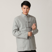 Winter Gray Chinese Tunic Suit Tops Men S Wool Thick Jacket Apec Leader Costume Vintage Button