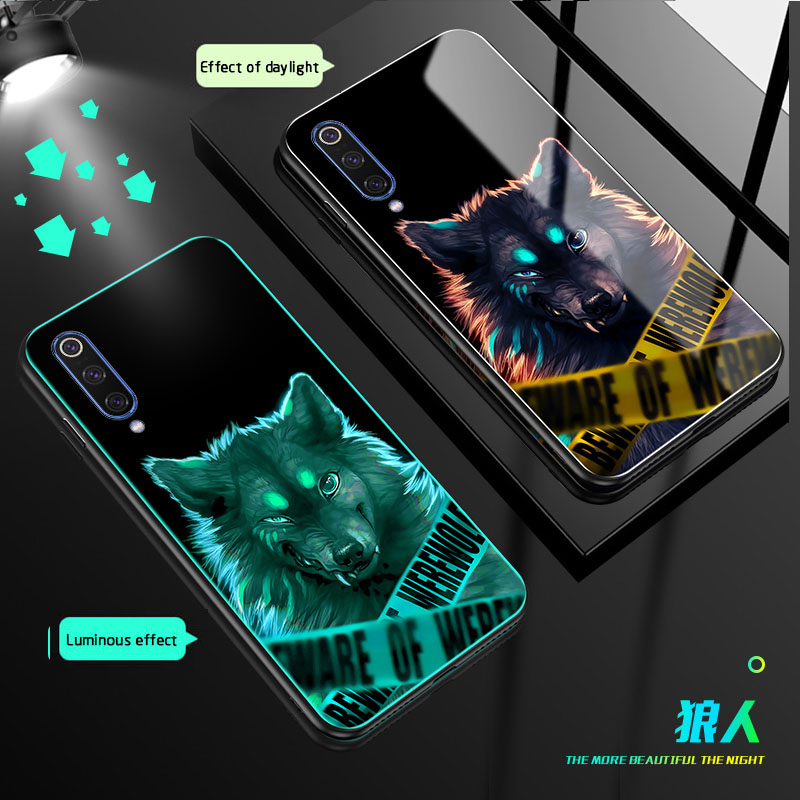 Tempered Glass Luminous Phone Case For Xiaomi MI 9 Luxury case For Xiaomi MI 9 SE Color pattern For redmi note 7 back Cover in Phone Screen Protectors from Cellphones Telecommunications