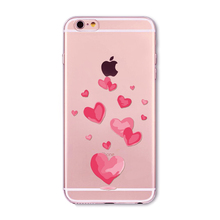 Butterfly Pink Love Heart Travel Girl Case For iphone 6 6s 7 5 5s se 7Plus 6Plus 4 4S Transparent Silicon Cases Cover
