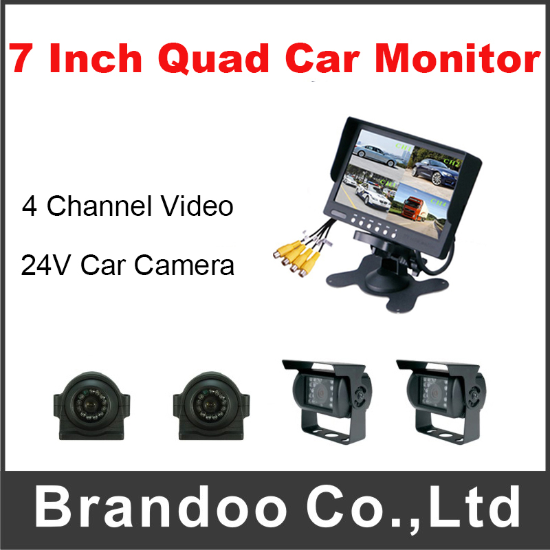 Free Shipping 4 Channel Video Input 7 Quad Car Monitor With 4pcs Car Camera