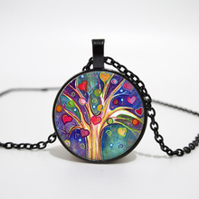 Life Tree Glass Cabochon Statement Necklace & Pendant Jewelry Vintage Silver Chain Choker For Women