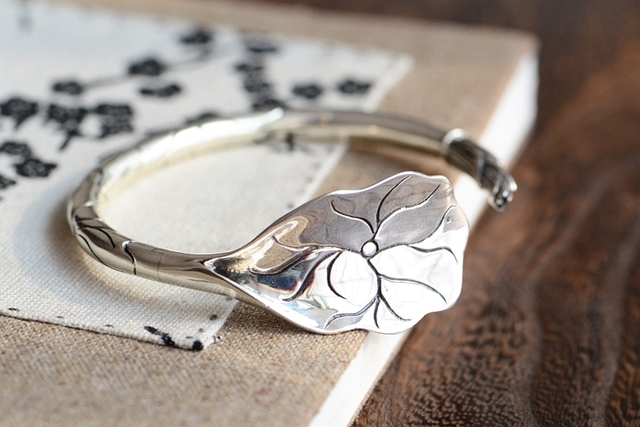 Unique Handmade Women Jewelry adjustable Bangles / 925 sterling silver / Lotus leaf Original design