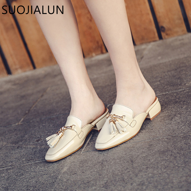 Image 2 - SUOJIALUN Brand 2018 Autumn Plus Size 36 41 Women Slipper Square Toe Flat Woman Slippers Slip On Mules Metal Buckle Slides-in Slippers from Shoes