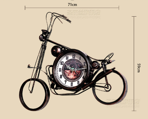 Vintage Wrought Iron Motorcycle Clock Bar Decoration Electronic Clocks Living Room Home Wall Clock Living Room Creative FashionVintage Wrought Iron Motorcycle Clock Bar Decoration Electronic Clocks Living Room Home Wall Clock Living Room Creative Fashion