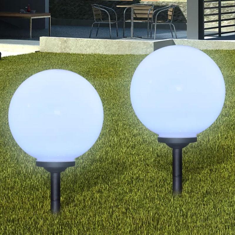 2PCS LED Solar Powered Lawn Lamp LED Solar Garden Ball Light Lanterns Lamps Light Sensor Path Garden Outdoor Holiday Decor #