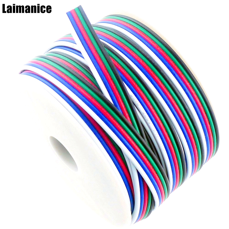 5M-50M 5 pin cable wire 22 AWG RGB Extension Connector Blue/Red/White/Green/Black for RGBW SMD 5050 3528 Led strip light diy 4 pin male connector connection cable for smd 5050 rgb led light strip white