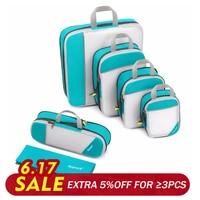 Gonex 6pcs/set Travel Storage Bag Suitcase Luggage Organizer Set Hanging Compression Packing Cubes for Clothing Underwear Shoes