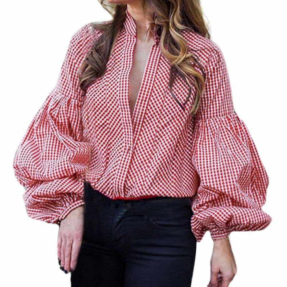 642510cecef6c Lantern Sleeve Button Blouse Plaid Loose Summer Tops 2018 New Fashion Long  Sleeve Shirt V Neck