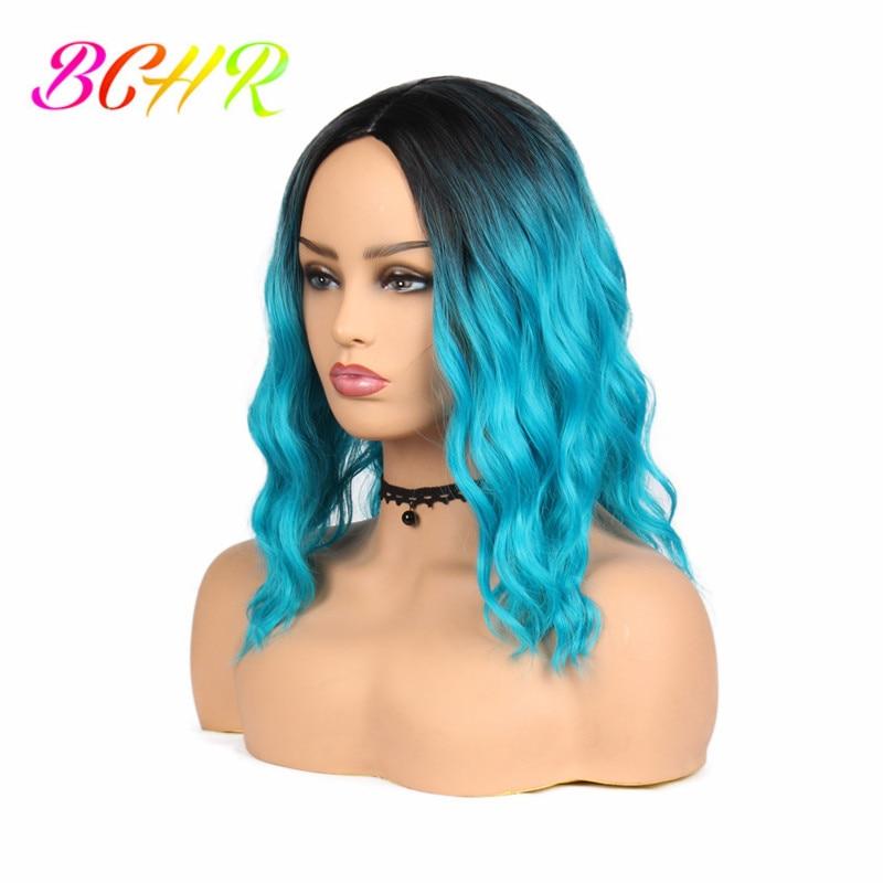 BCHR Ombre Κομψή ώμου-μήκους ουρανού μπλε - Συνθετικά μαλλιά - Φωτογραφία 2