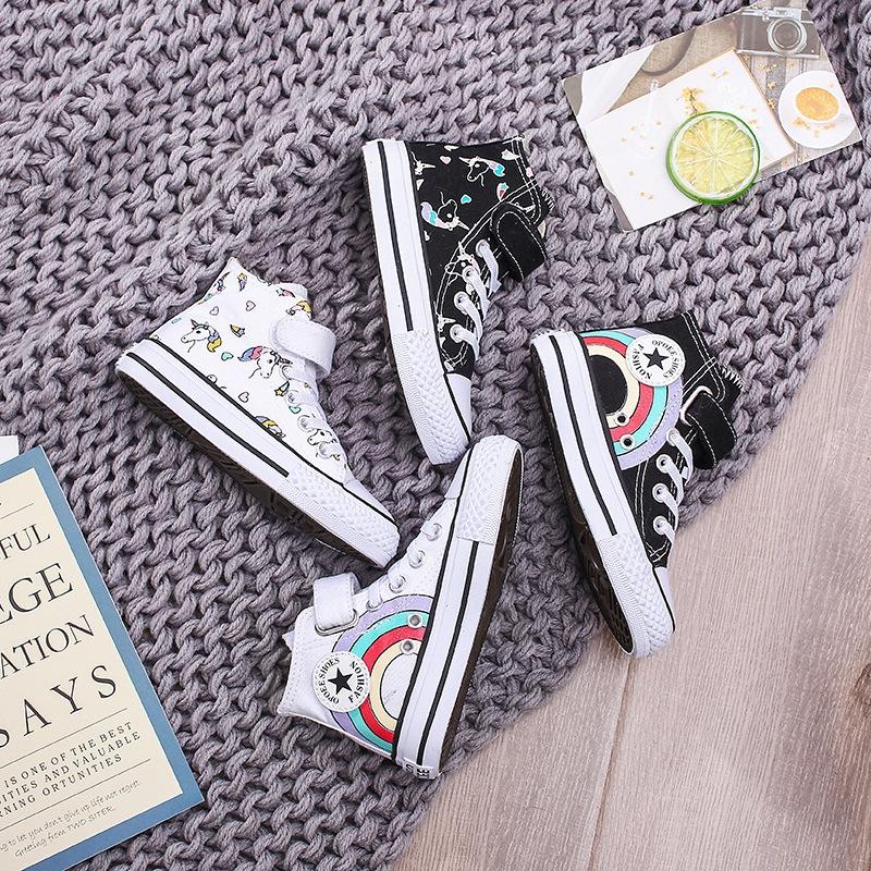 Girls Fashion Children Canvas Shoes Lovely Unicorn Printed Pattern High Top Girls Black White Girl Sneakers Star Rainbow C07212