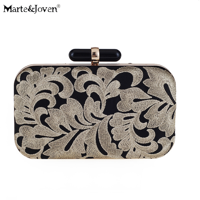 Classic Fl Embroidery Black Evening Bag For Women Shoulder Handbags Designer Luxury Gold Wedding Dinner