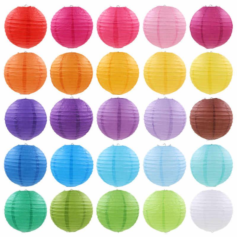 """فوانيس ورقية دائرية صينية 4 """"6"""" 8 """"10"""" 12 """"14"""" 16 """"بيضاء حمراء معلقة لامبيون متمنيا ورقة مصباح زينة لغرفة الزفاف والحفلات"""