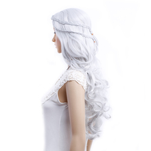 Amir Cosplay Wigs Game of Thrones Daenerys Targaryen Cosplay Wig slivery grey and blonde Synthetic Hair Wig Long Wavy Hair Wigs